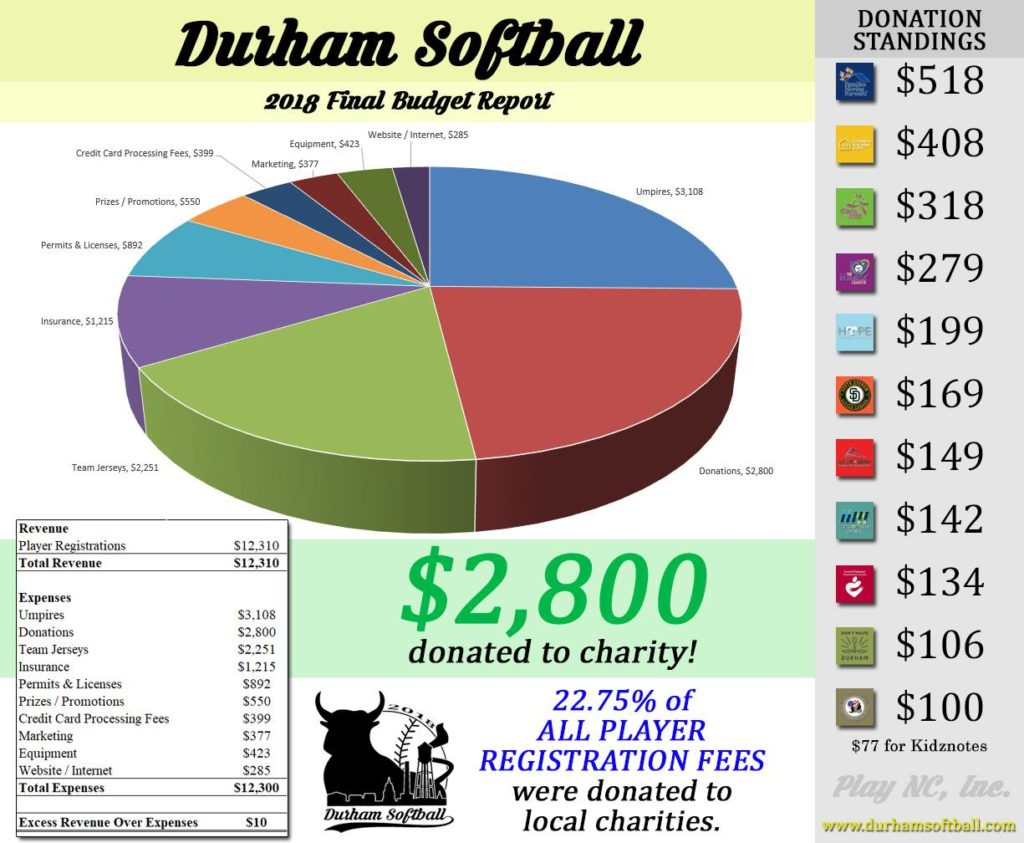 Budget for Durham Softball, a charity softball league in Durham, NC