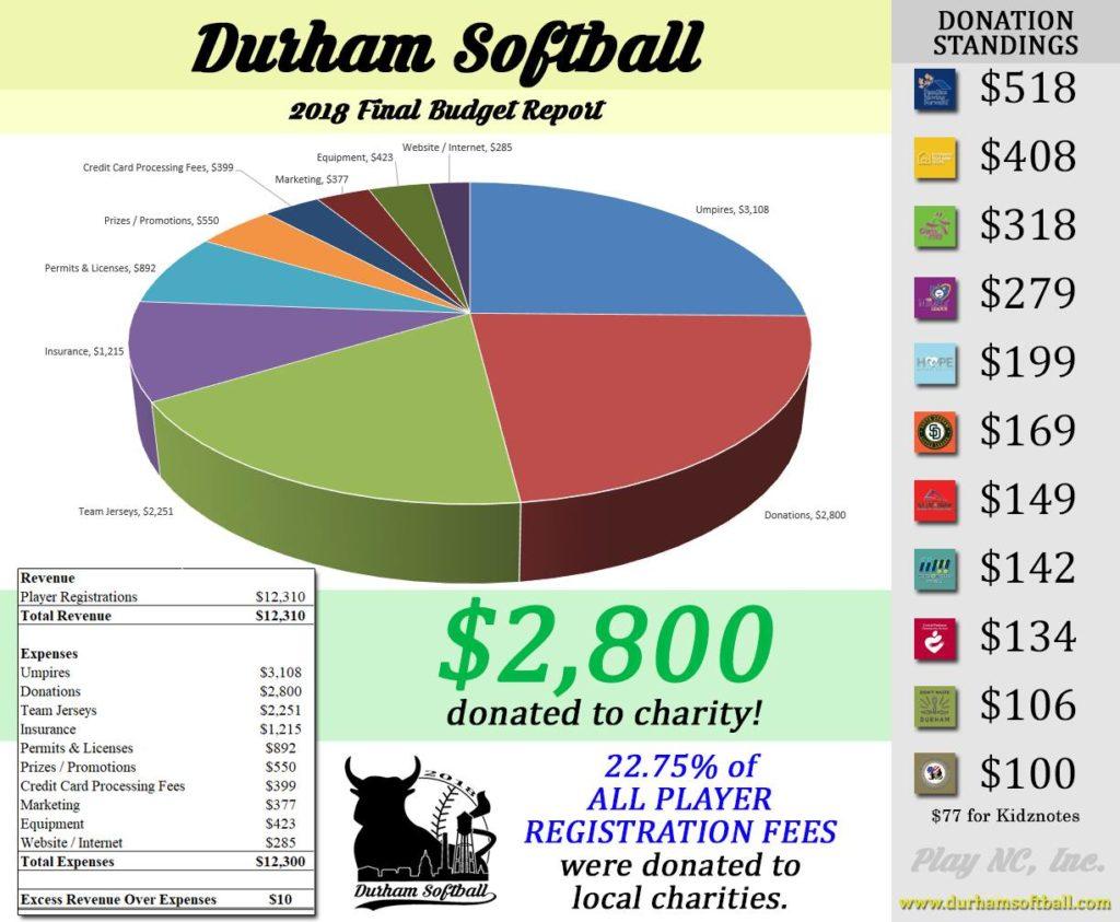Budget for Durham Softball, a charity softball league in Durham, NC