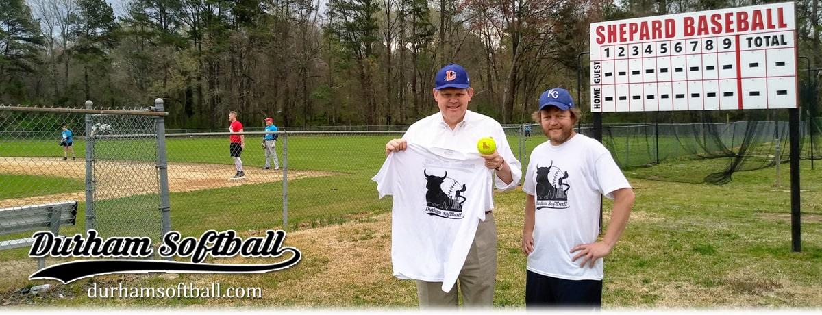 NC State Senator Mike Woodard supporting Durham Softball.